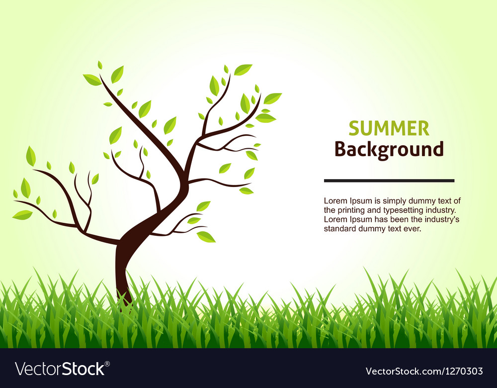 Summer landscape tree on a background of green vector | Price: 1 Credit (USD $1)