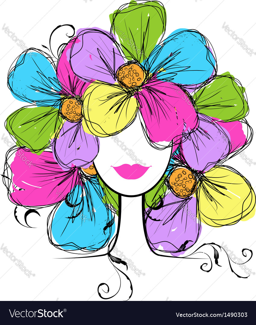 Woman head with floral hairstyle for your design vector | Price: 1 Credit (USD $1)