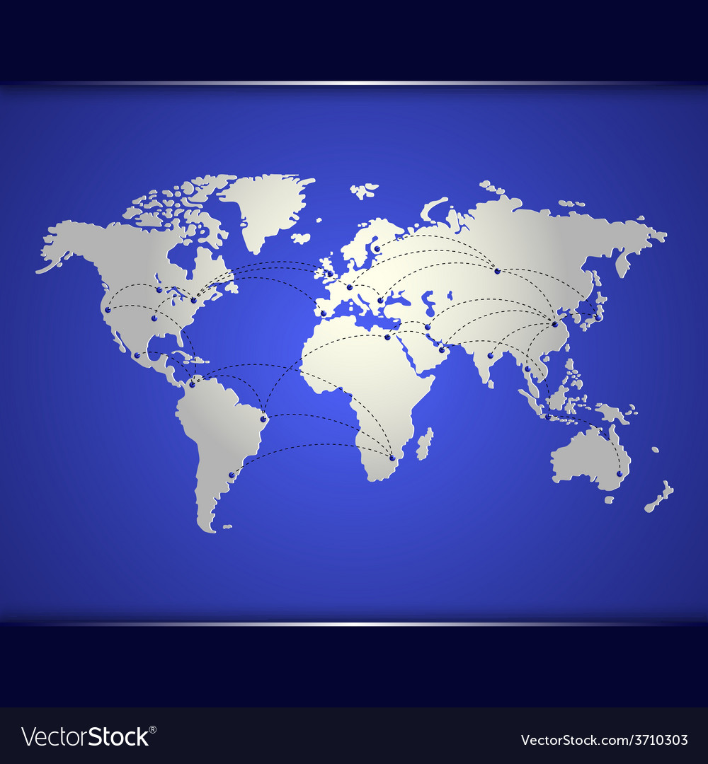World map of blue networking vector | Price: 1 Credit (USD $1)