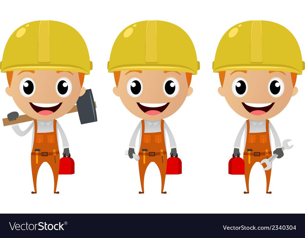 Construction worker cartoon character vector | Price: 1 Credit (USD $1)