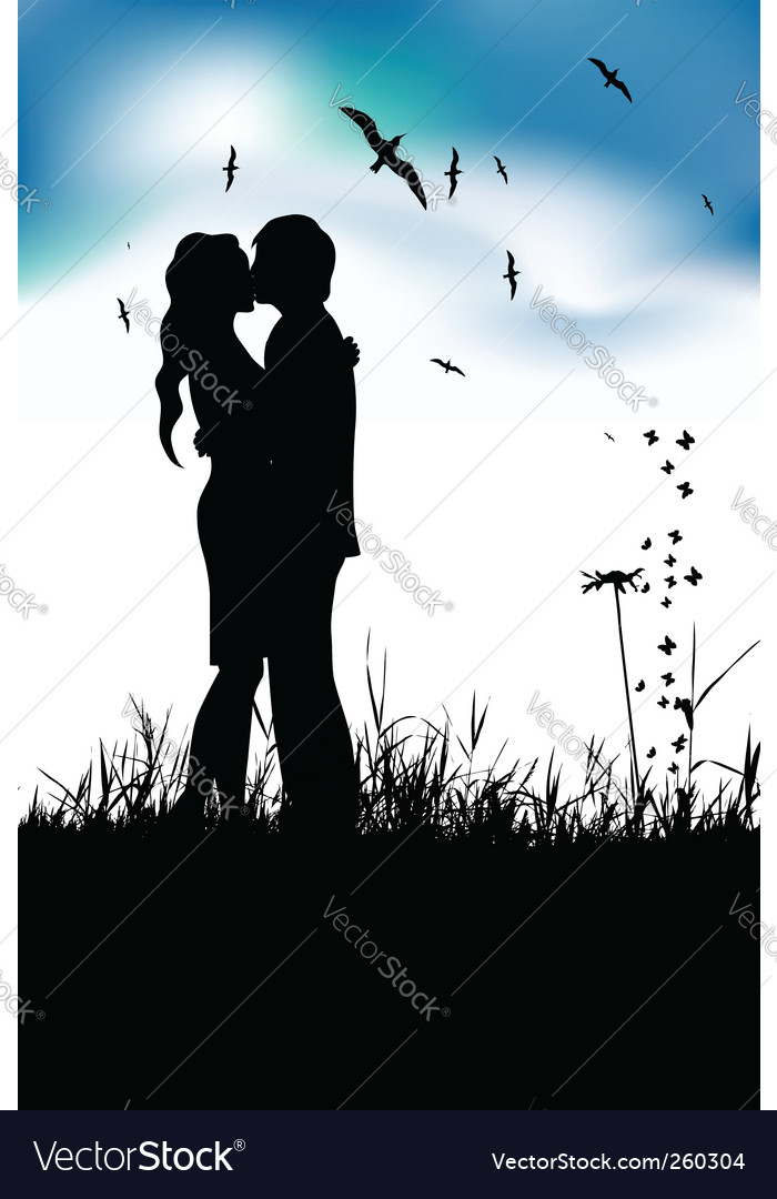 Couple silhouette vector | Price: 1 Credit (USD $1)