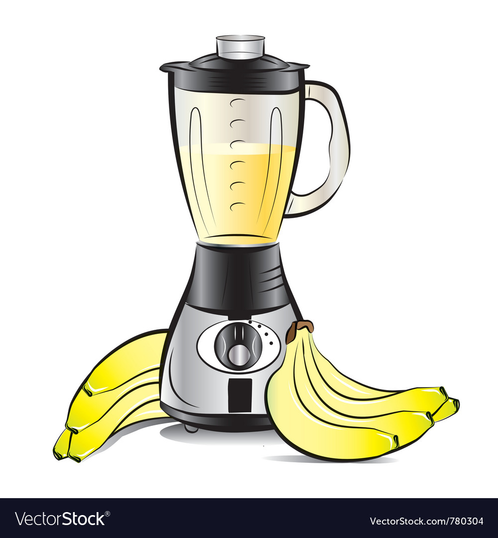 Drawing color kitchen blender with bananas juice vector | Price: 1 Credit (USD $1)
