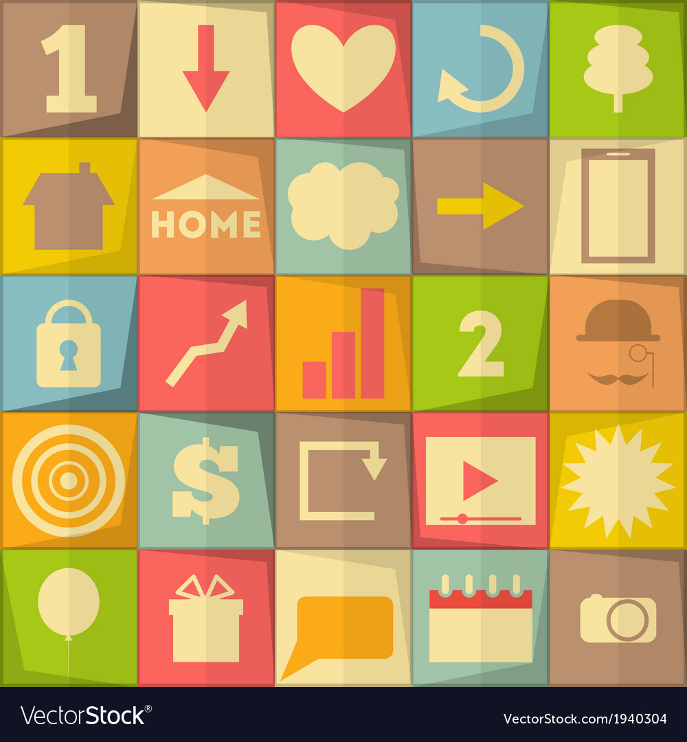Flat icon set vector | Price: 1 Credit (USD $1)