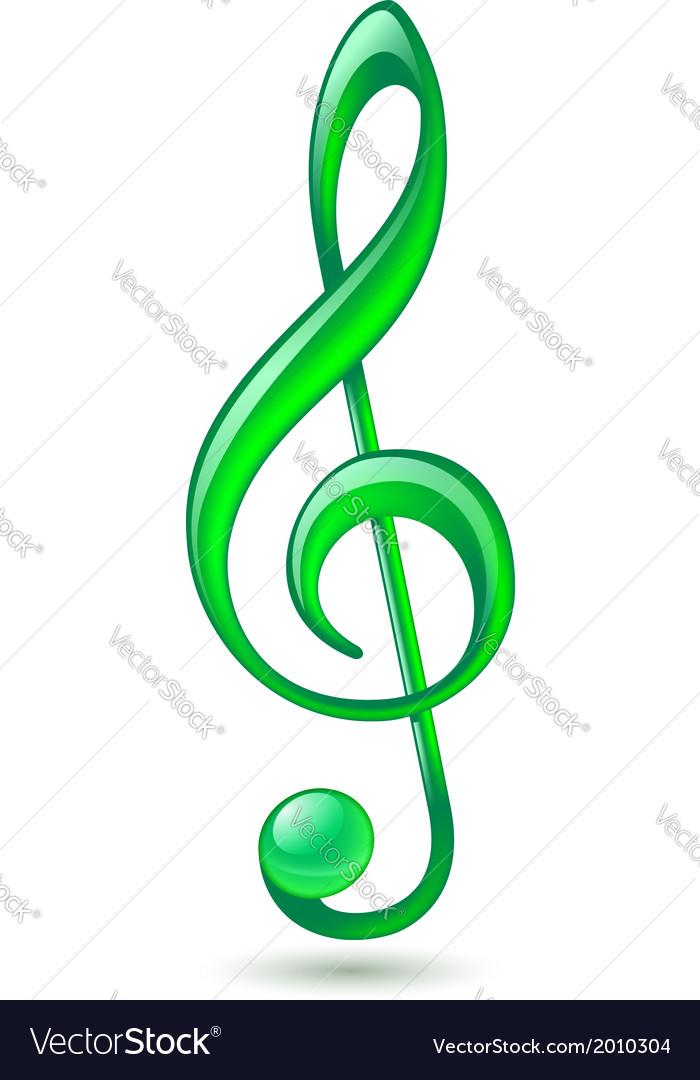 Green treble clef vector | Price: 1 Credit (USD $1)