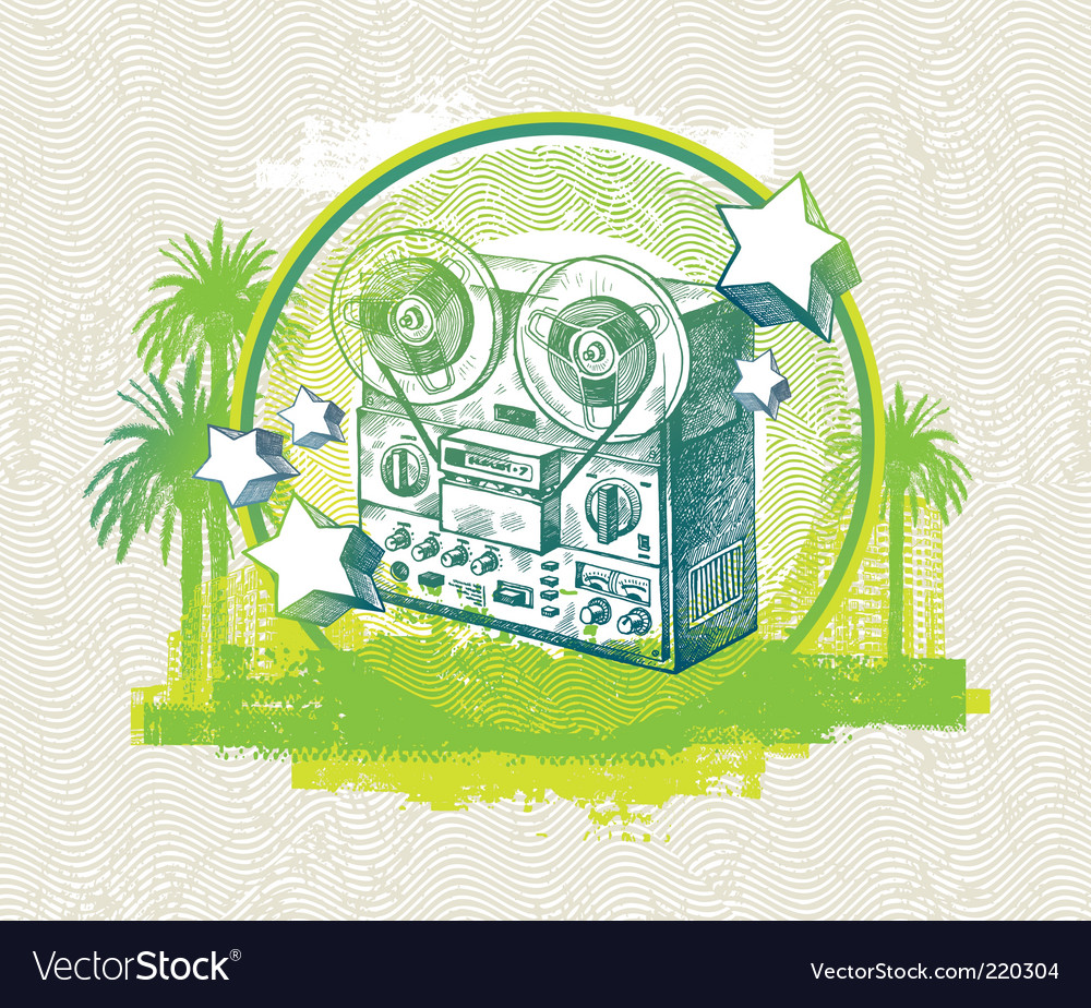 Hand drawn retro tape recorder vector | Price: 1 Credit (USD $1)