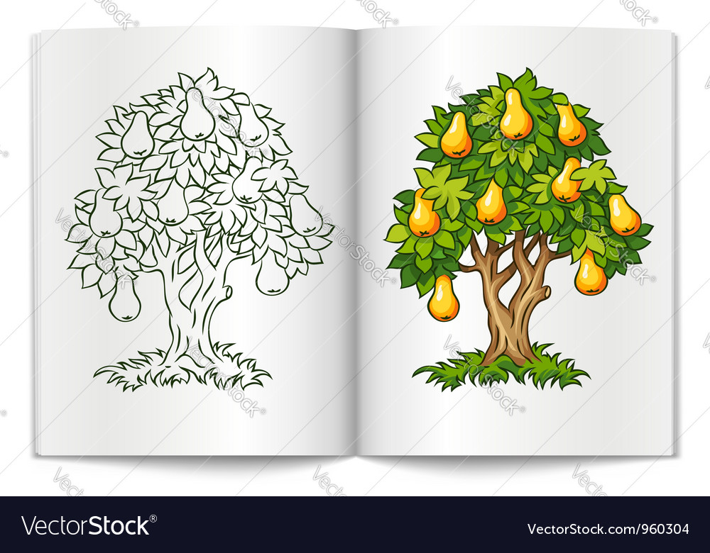 Pear tree with ripe fruits on vector | Price: 1 Credit (USD $1)