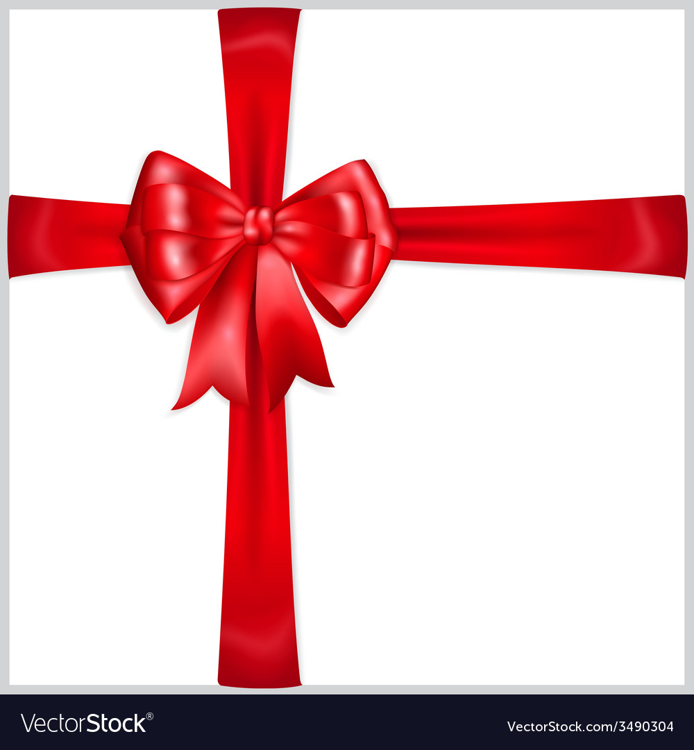 Red bow with crosswise ribbons vector | Price: 1 Credit (USD $1)