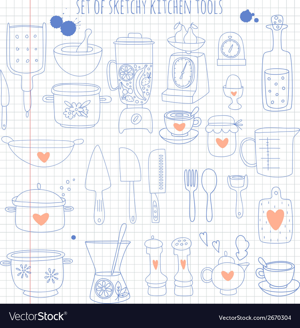 Set of kitchen tools on notebook paper vector | Price: 3 Credit (USD $3)
