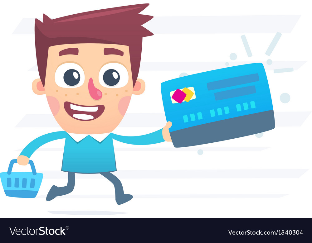 Shopping with plastic card vector | Price: 1 Credit (USD $1)