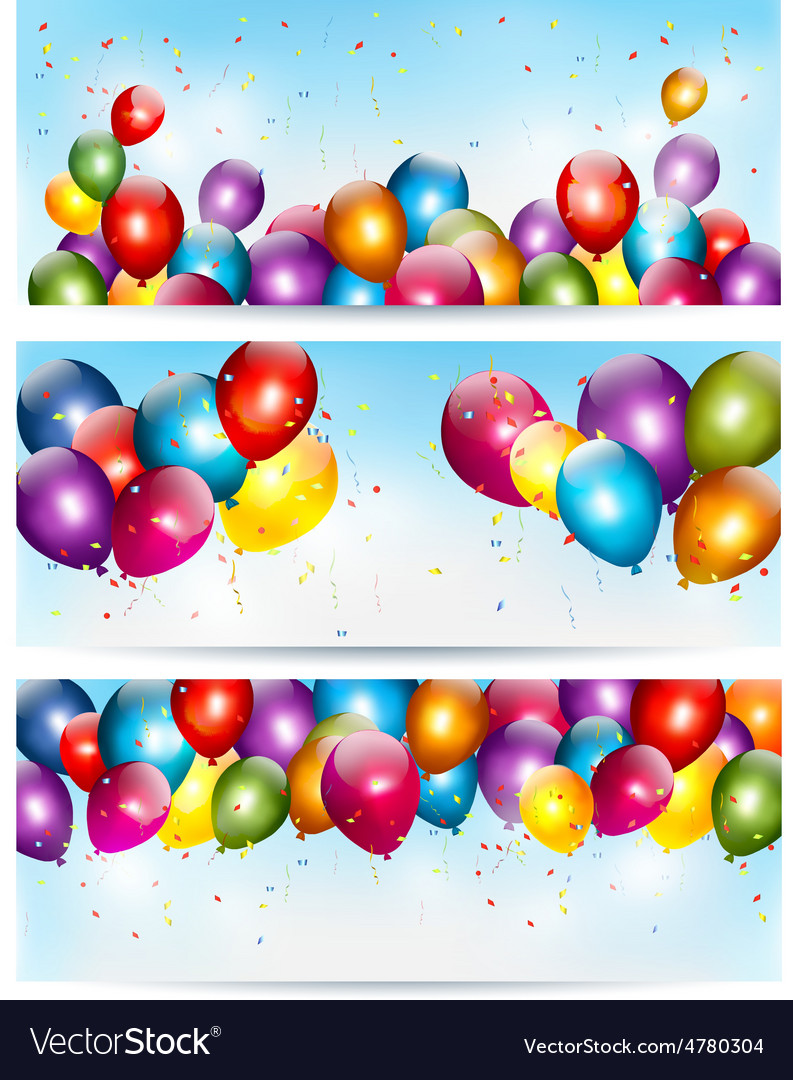 Three holiday banners with colorful balloons vector | Price: 3 Credit (USD $3)