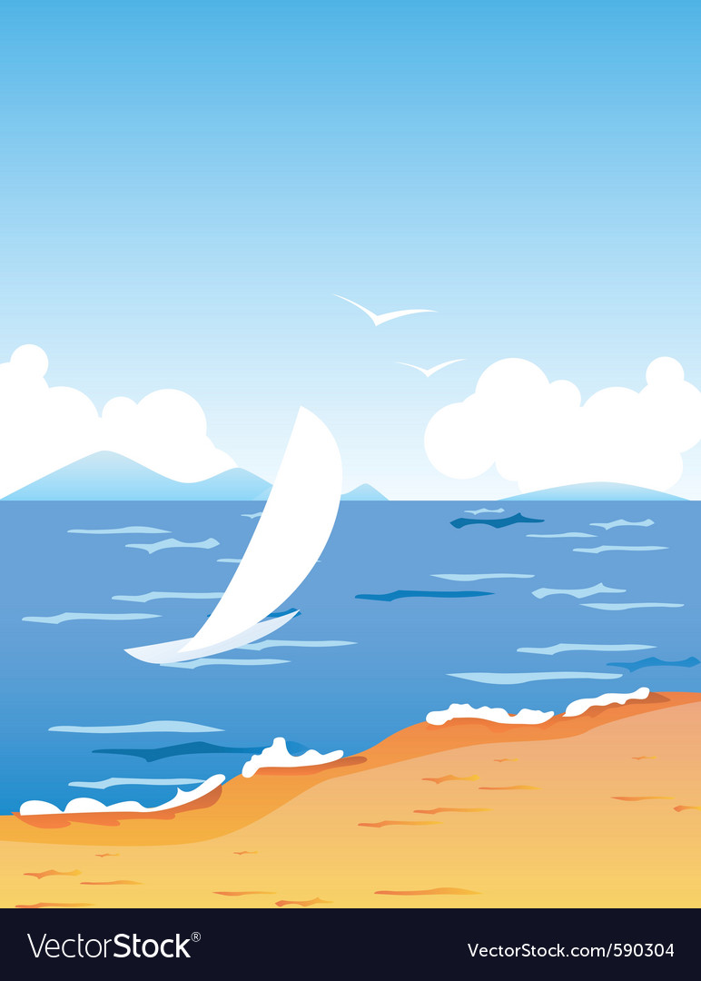 Tropic beach with boat vector | Price: 1 Credit (USD $1)