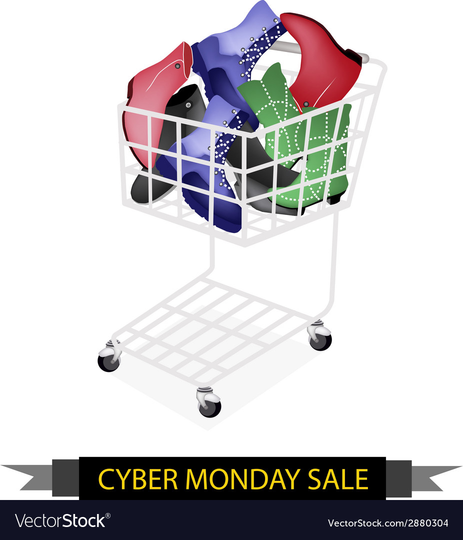Women shoes in cyber monday shopping cart vector | Price: 1 Credit (USD $1)