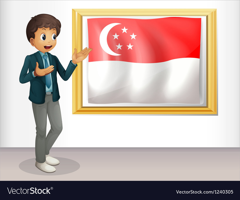 A boy pointing at the singaporean flag vector | Price: 1 Credit (USD $1)