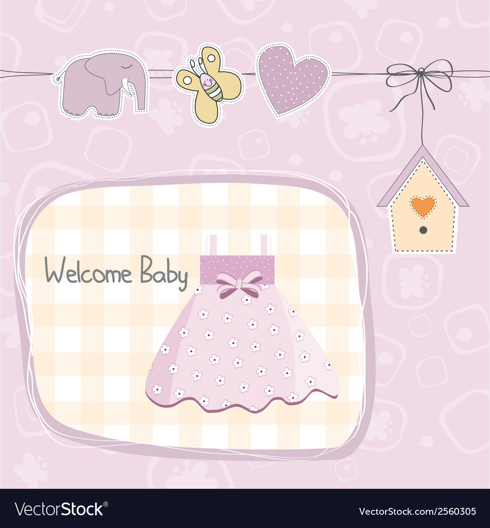 Baby girl shower card with dress vector | Price: 1 Credit (USD $1)