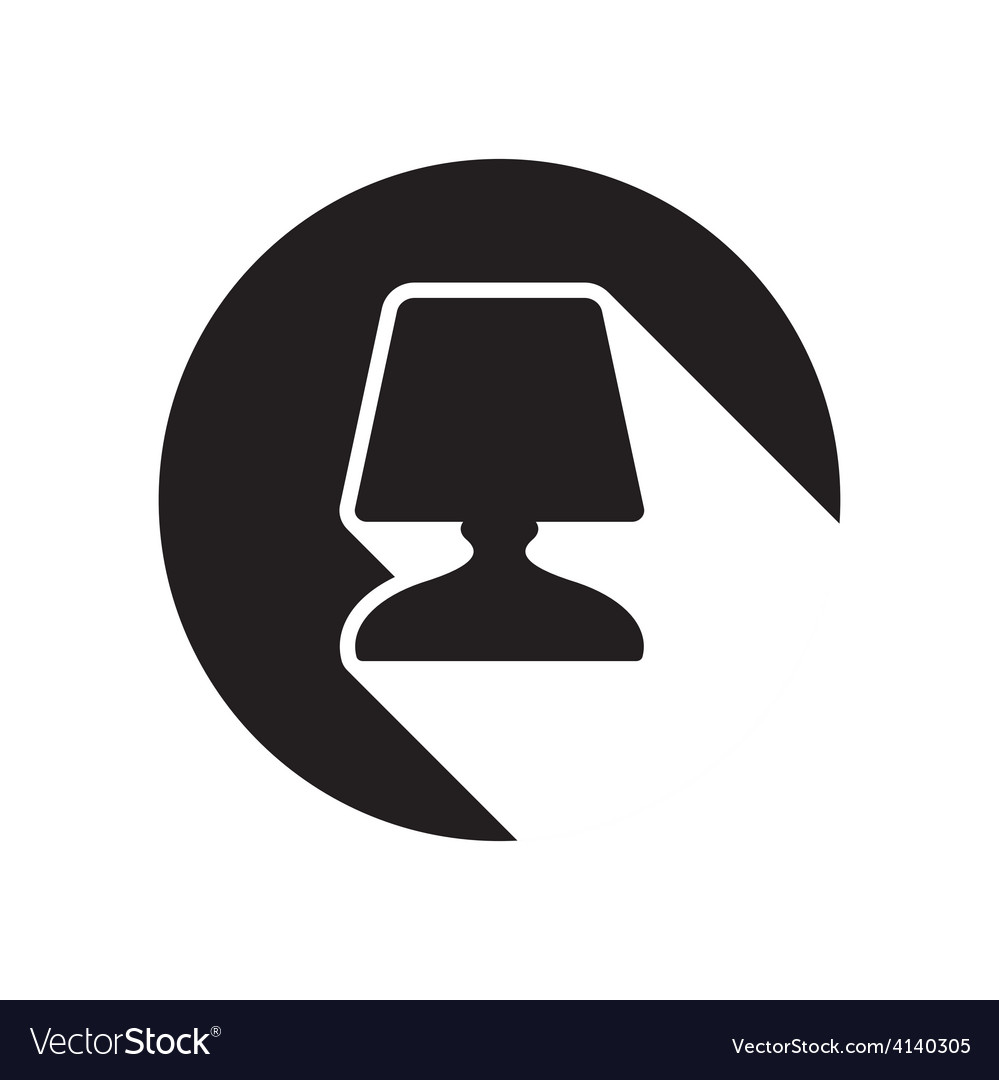 Black icon bedside table lamp and stylized shadow vector | Price: 1 Credit (USD $1)