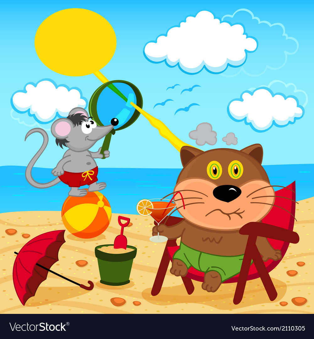 Cat and mouse fool around with on beach vector | Price: 1 Credit (USD $1)
