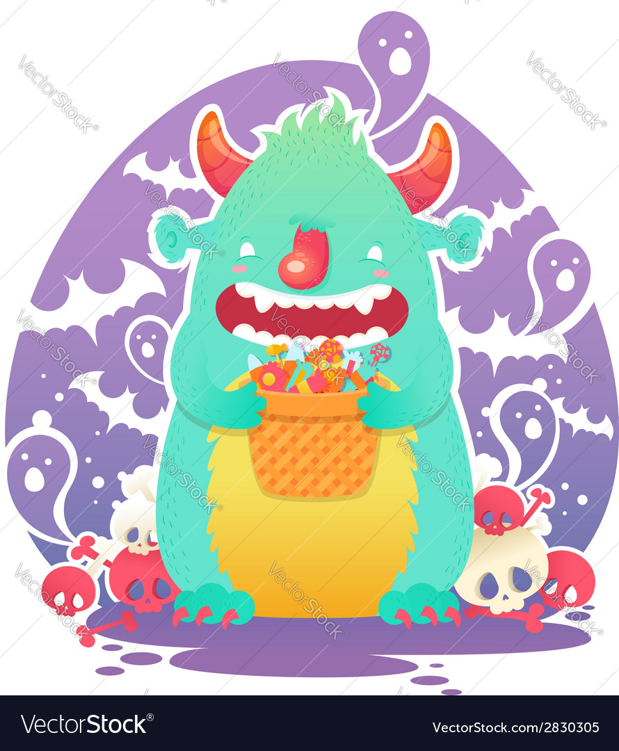 Funny smiling halloween fluffy monster character vector | Price: 1 Credit (USD $1)