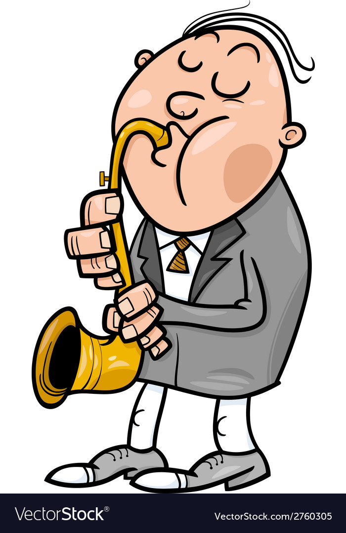 Man with saxophone cartoon vector | Price: 1 Credit (USD $1)