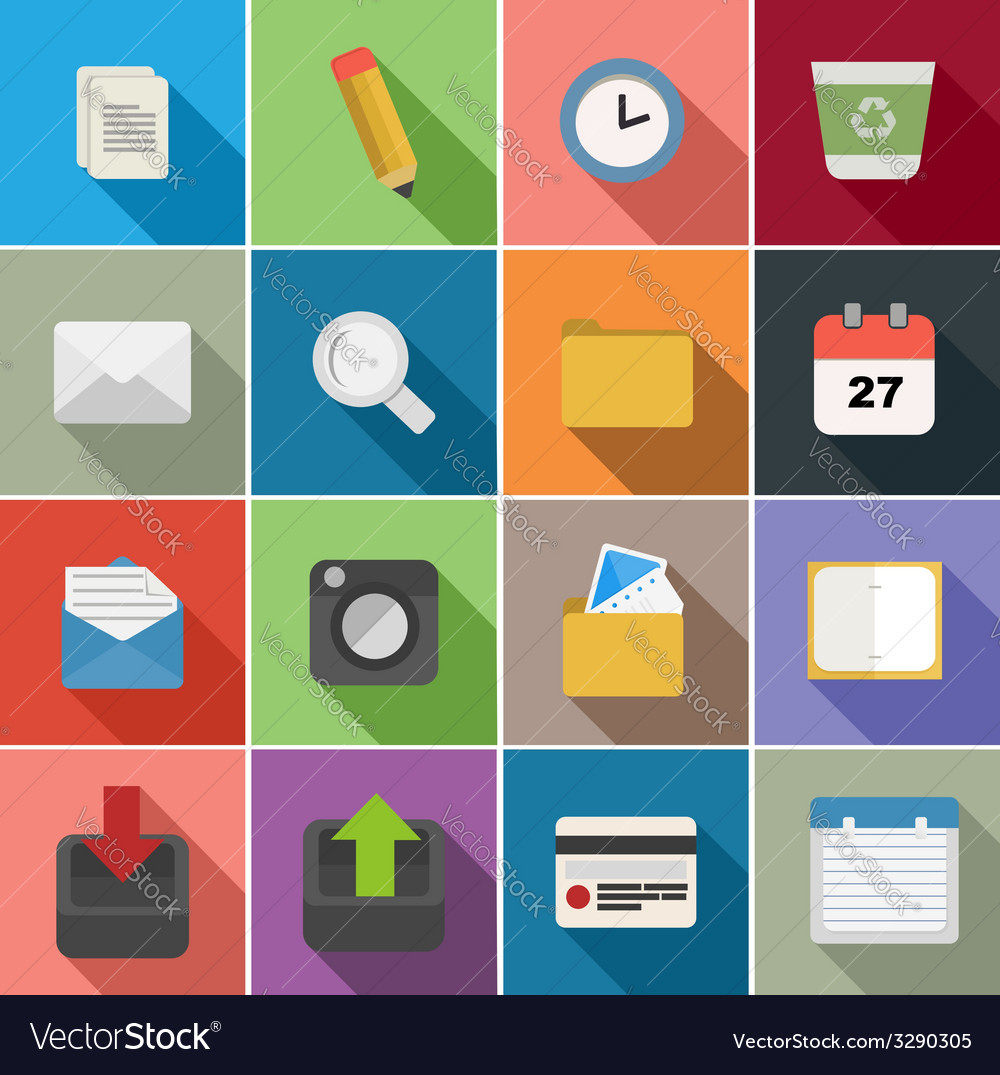 Office flat icons set design vector | Price: 1 Credit (USD $1)