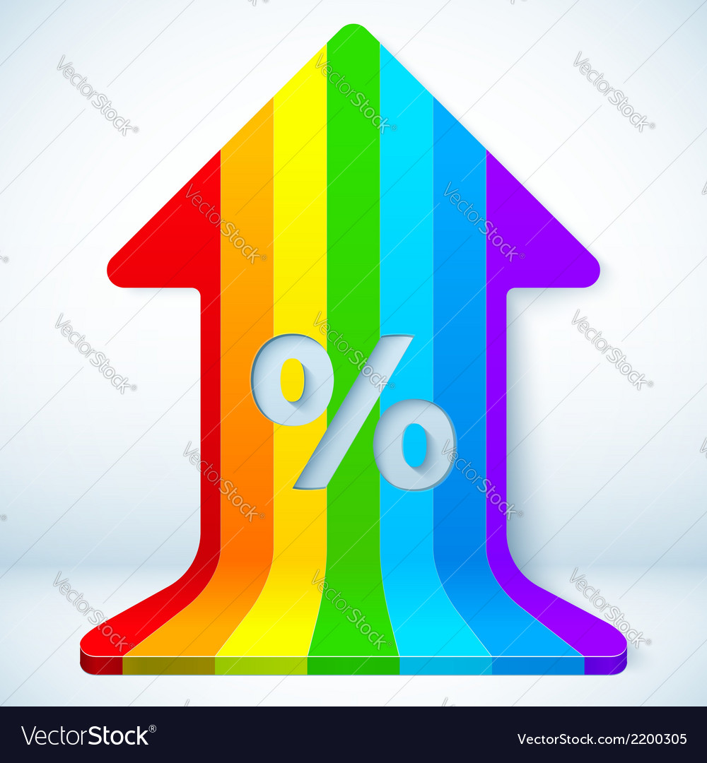 Rainbow grow up arrow with percent sign vector | Price: 1 Credit (USD $1)