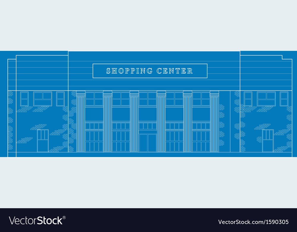Shopping center building front blue print vector | Price: 1 Credit (USD $1)