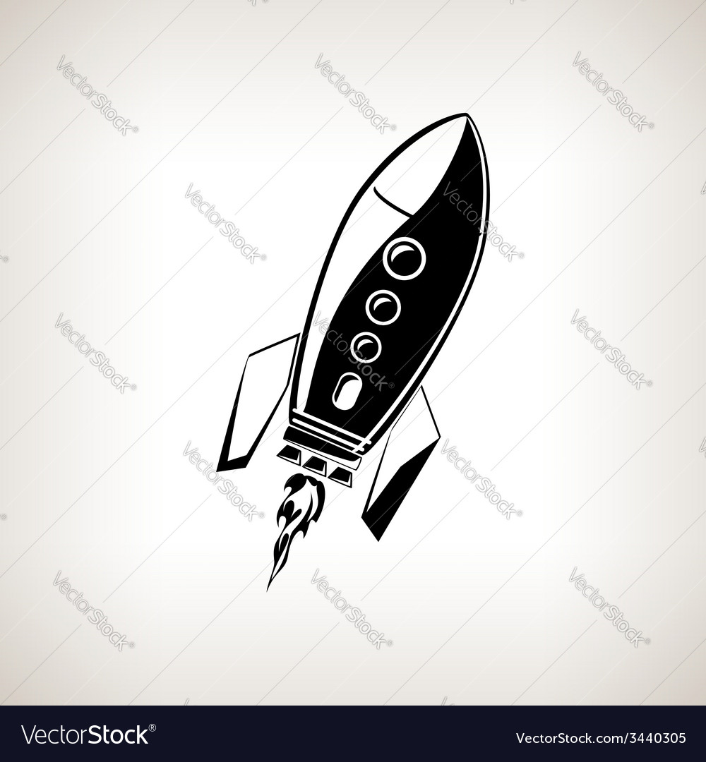 Silhouette rocket on a light background vector | Price: 1 Credit (USD $1)
