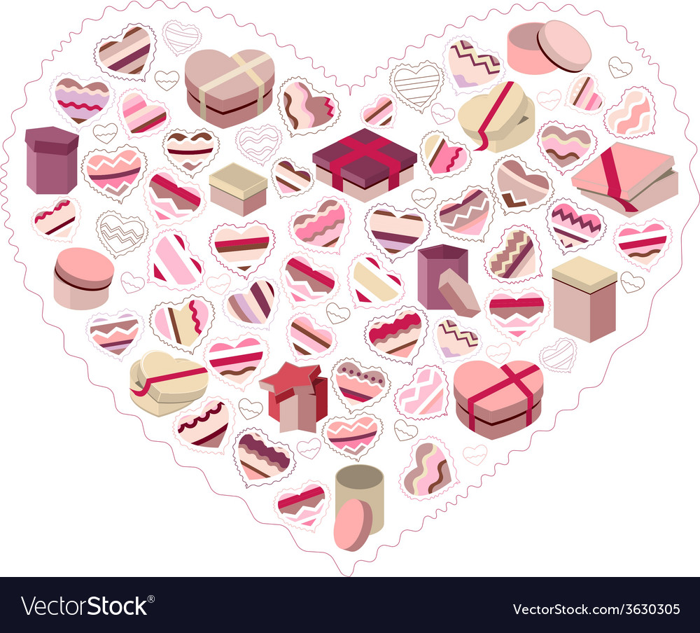 Stylized pink heart made of gift boxes vector | Price: 1 Credit (USD $1)