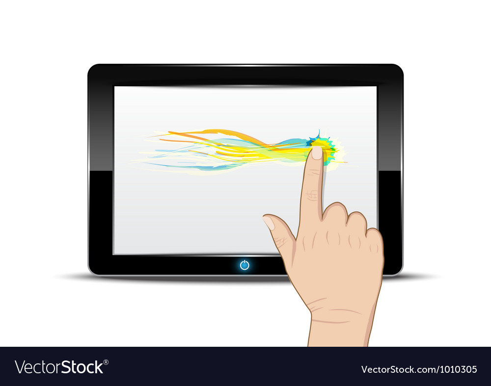 Tablet computer with hand drag on screen vector | Price: 1 Credit (USD $1)