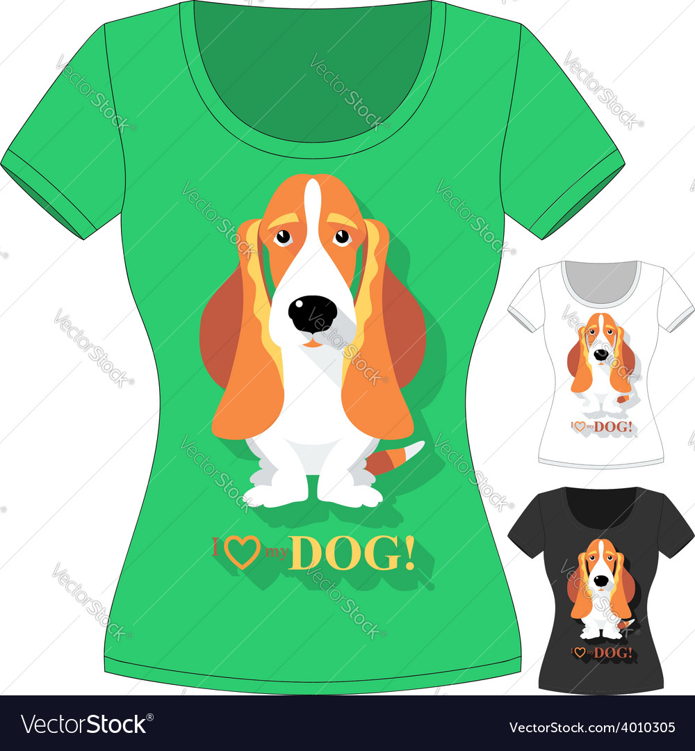 T-shirt with dog basset hound vector | Price: 1 Credit (USD $1)