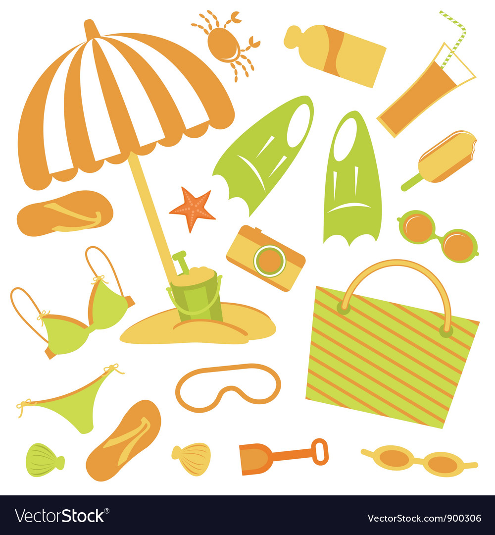 Beach set vector | Price: 1 Credit (USD $1)