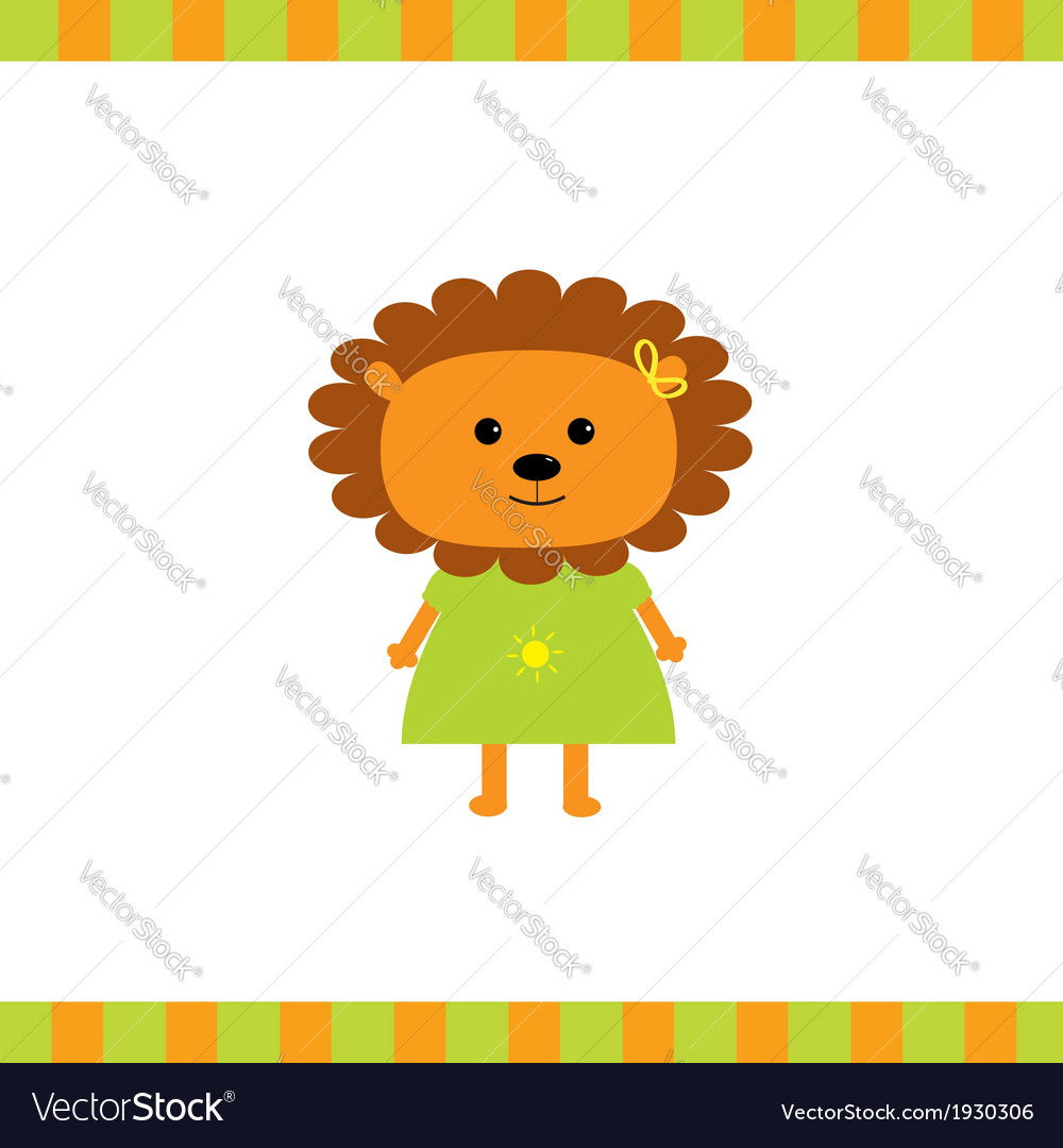 Cartoon lion girl card vector | Price: 1 Credit (USD $1)