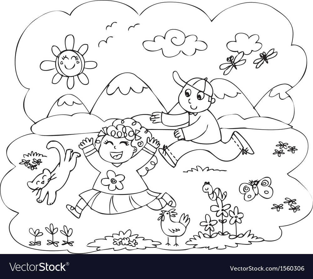 Children playing in countryside vector | Price: 1 Credit (USD $1)