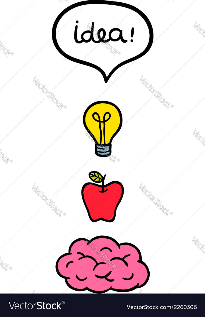 Concept image with cartoon brain bulb and apple vector | Price: 1 Credit (USD $1)