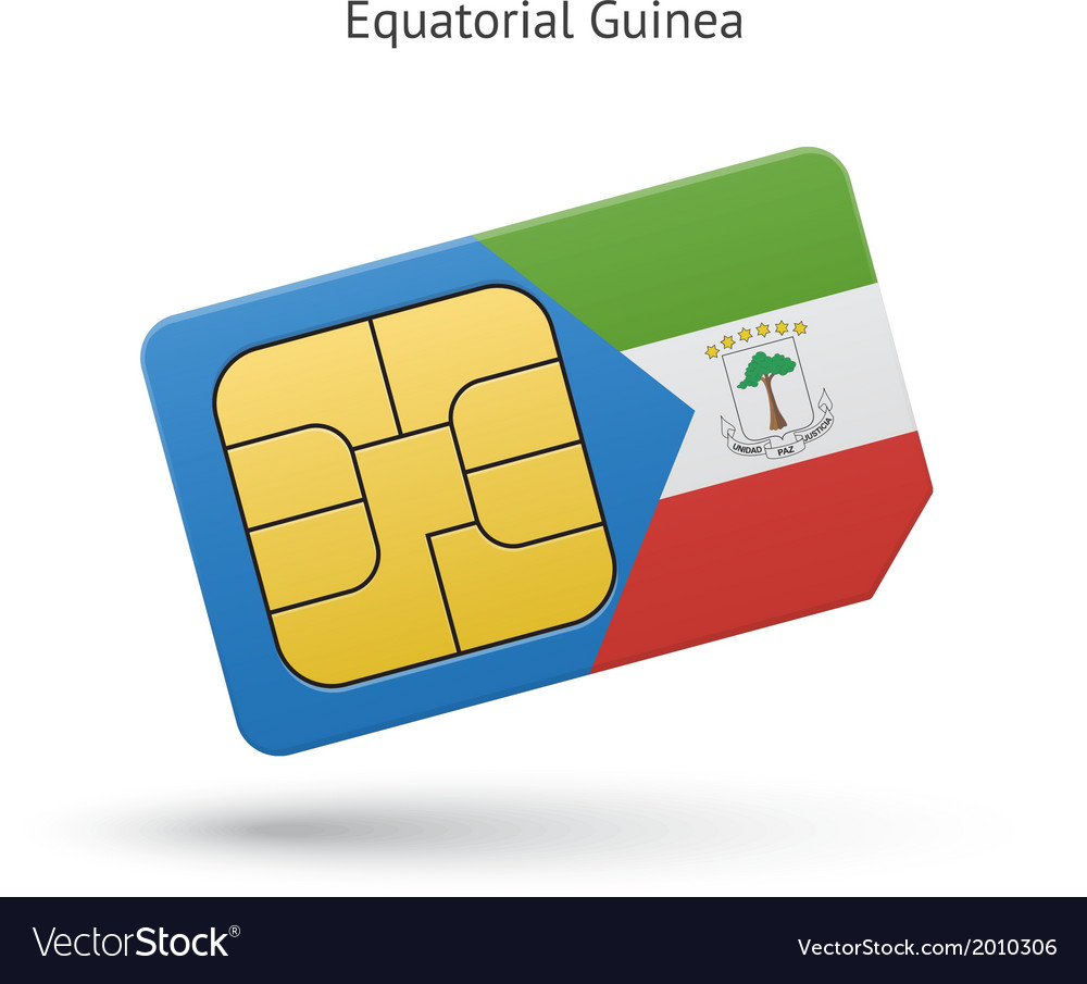 Equatorial guinea mobile phone sim card with flag vector | Price: 1 Credit (USD $1)