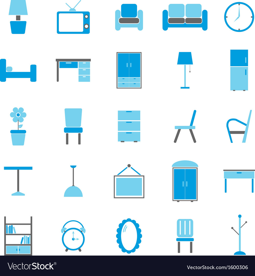 Furniture color icons on white background vector | Price: 1 Credit (USD $1)