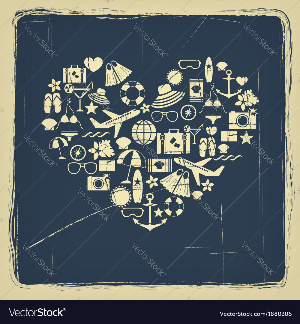 Heart from summer icons vintage vector | Price: 1 Credit (USD $1)
