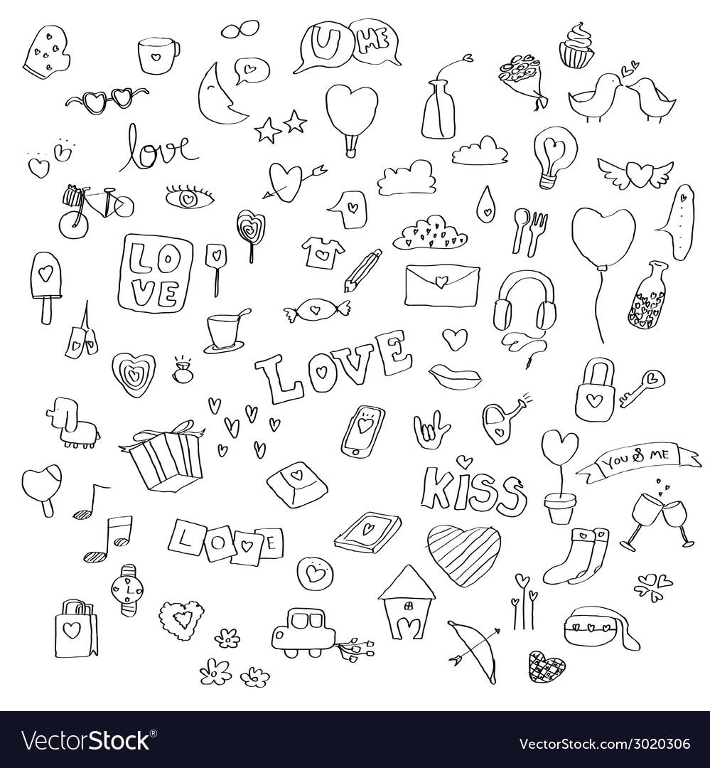 Love doodle set vector | Price: 1 Credit (USD $1)