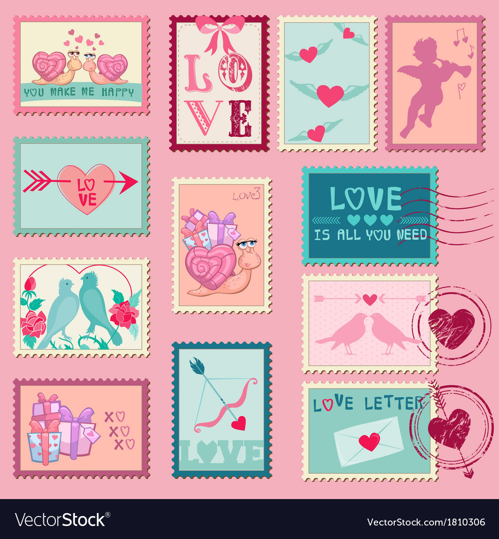 Love stamps - for wedding valentines day vector | Price: 1 Credit (USD $1)