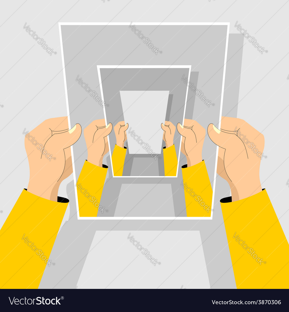 Recursion hand holding blank paper vector | Price: 1 Credit (USD $1)