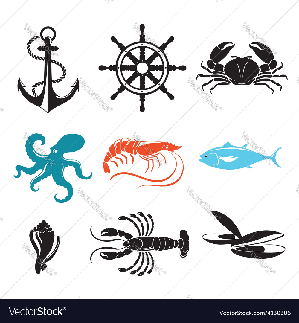Seafood icons crab lobster fish octopus vector | Price: 1 Credit (USD $1)