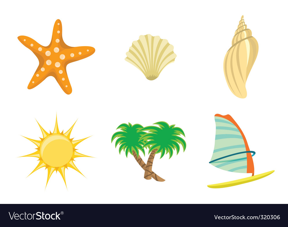 Set of summer icons vector | Price: 1 Credit (USD $1)