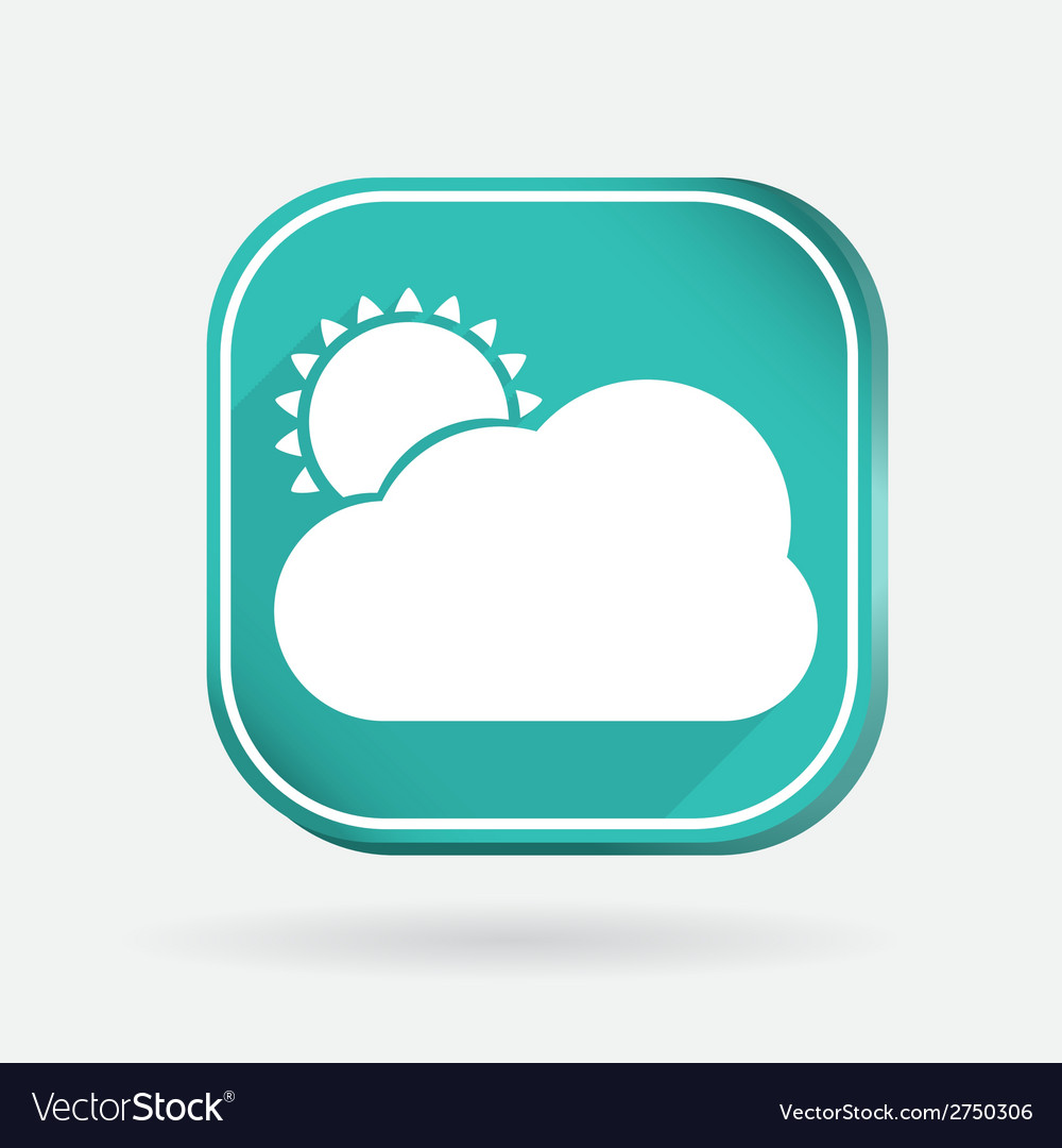 Sun behind the cloud color square icon vector | Price: 1 Credit (USD $1)
