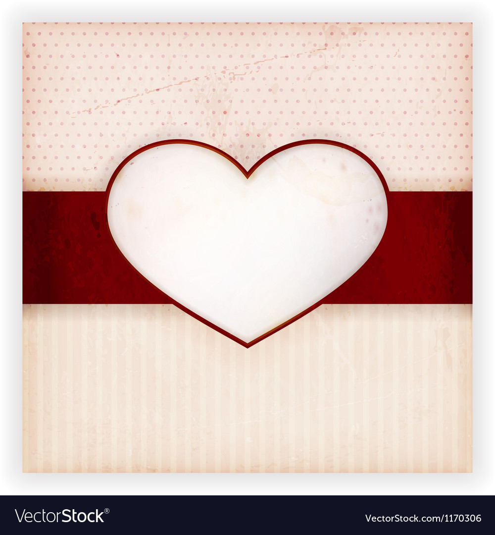 Vintage invitation card with heart label vector | Price: 1 Credit (USD $1)