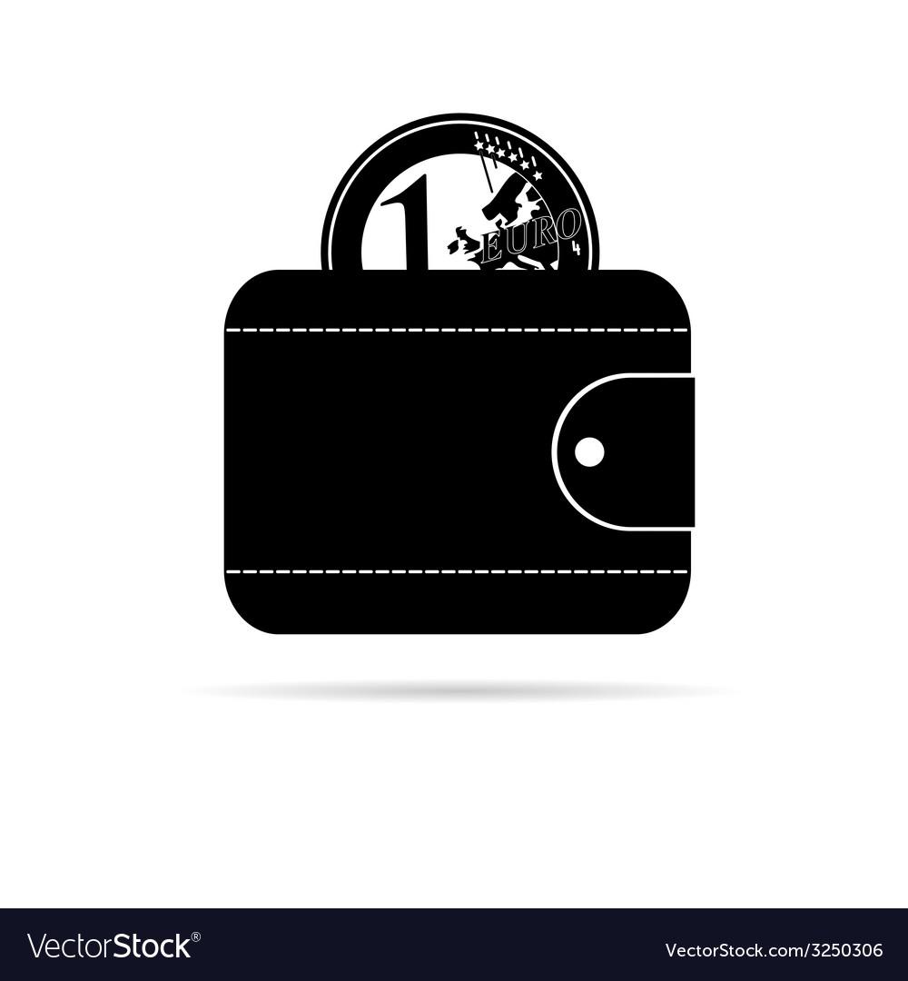 Wallet icon with black euro coin vector | Price: 1 Credit (USD $1)