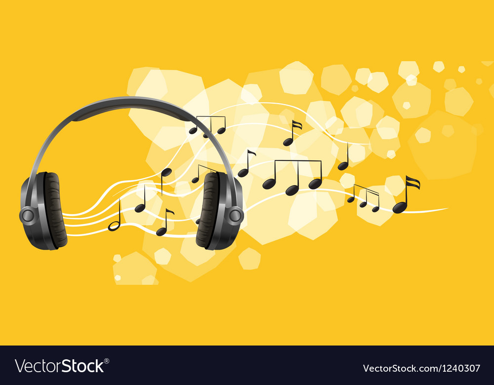 A headset and the musical notes vector | Price: 1 Credit (USD $1)