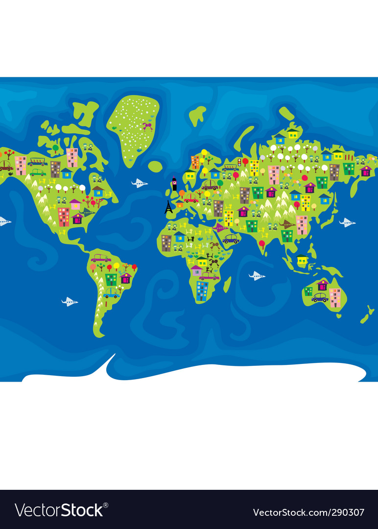 Cartoon map of the world vector | Price: 1 Credit (USD $1)
