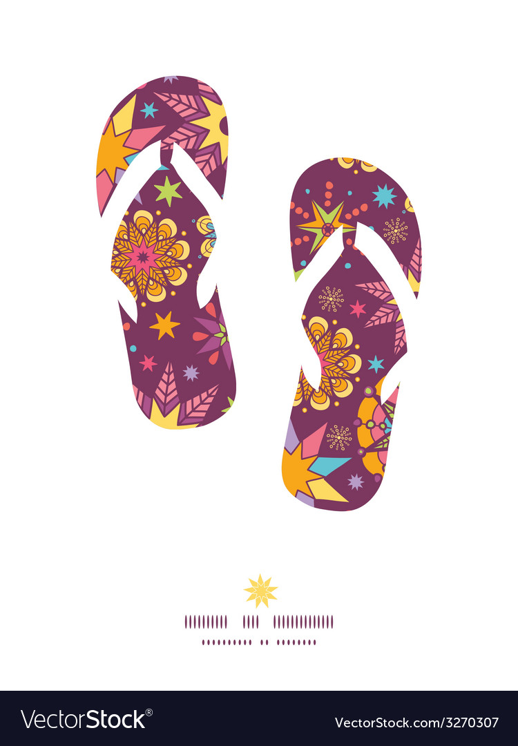 Colorful stars flip flops silhouettes pattern vector | Price: 1 Credit (USD $1)