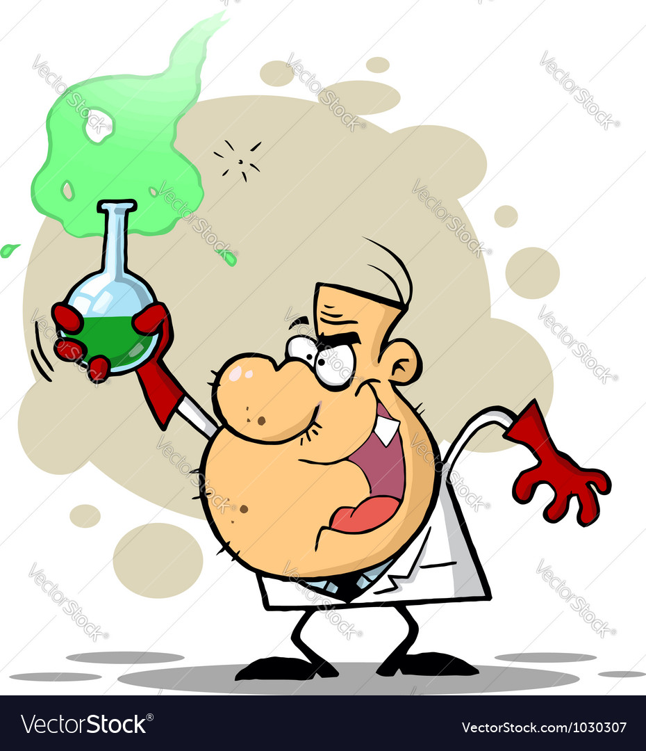 Crazy scientist holds bubbling beaker of chemicals vector | Price: 1 Credit (USD $1)