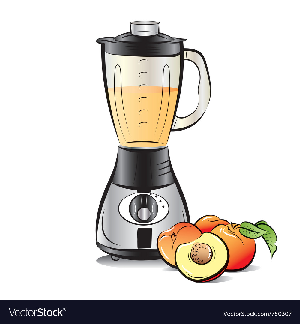 Drawing color kitchen blender with peach juice vector | Price: 3 Credit (USD $3)