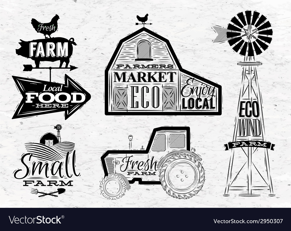 Farm vintage vector | Price: 1 Credit (USD $1)